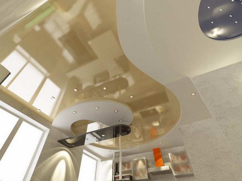 Дизайны двухуровневых натяжных потолков
